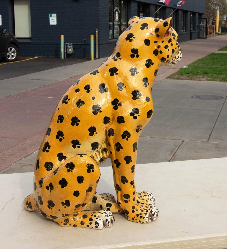 Vintage Italian Life Size Terracotta Leopard, 1960s In Good Condition For Sale In Rochester, NY