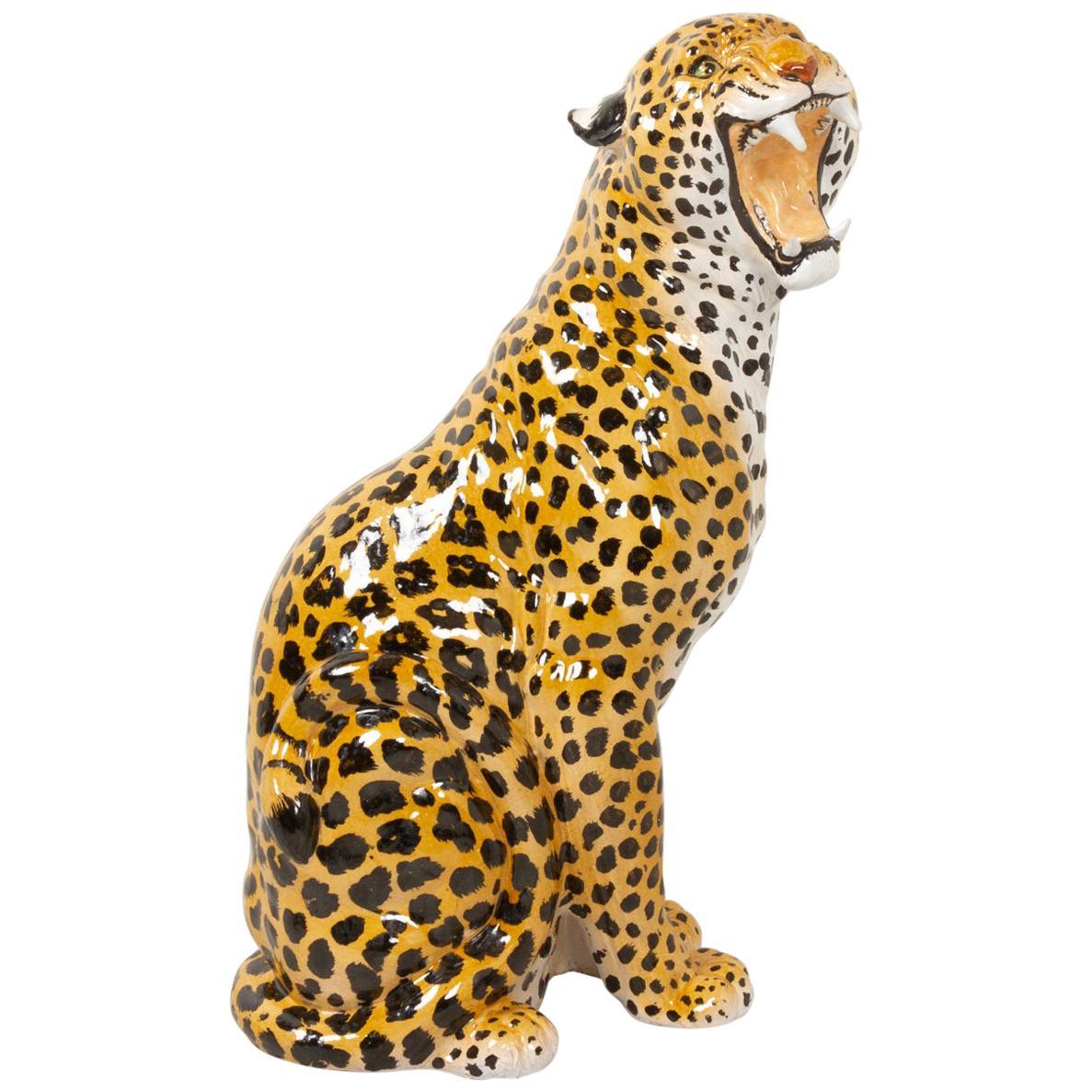 Vintage Italian Life-Size Terracotta Leopard, 1960s