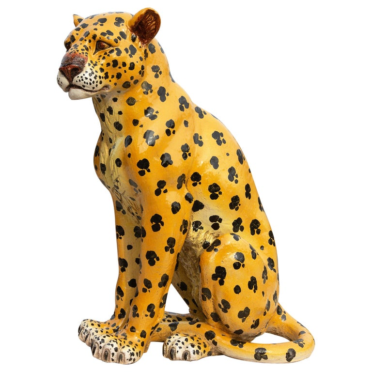 Vintage Italian Life Size Terracotta Leopard, 1960s For Sale