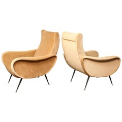 Vintage Italian Lounge Chairs in the Manner of Marco Zanuso