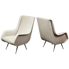 Vintage Italian Lounge Chairs in the Manner of Marco Zanuso, Silver