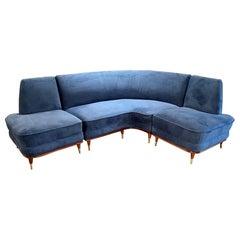 Vintage Italian Mahogany and Brass Sofa with Blue Velvet Upholstery