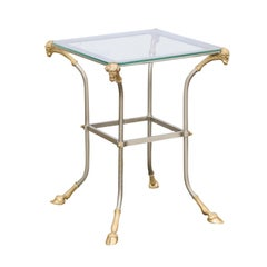 Vintage Italian Maison Jansen Style Bronze and Steel Side Table with Rams Heads