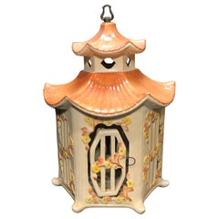 Vintage Italian Majolica Porcelain Birdcage Glazed Ceramic