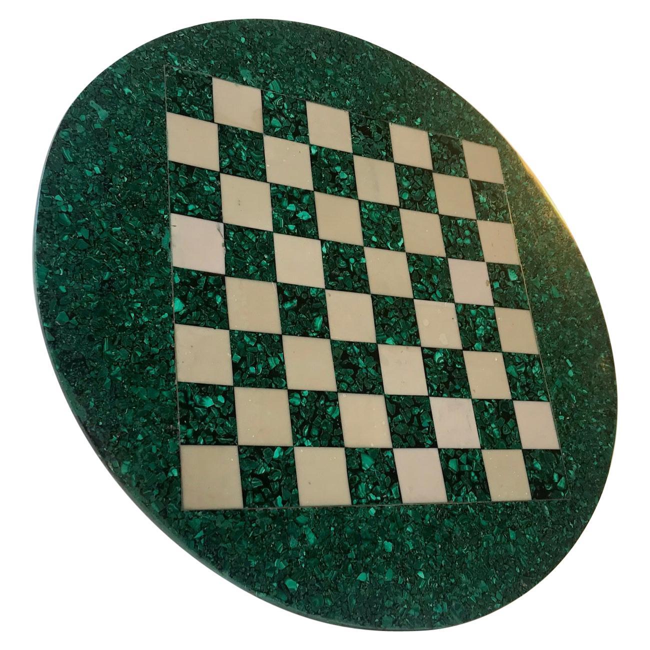 Vintage Italian Malachite and Marple Chess Board, 1970s