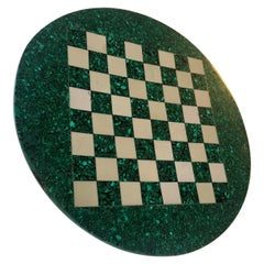 Vintage Italian Malachite and Marple Chess Board, 1970s