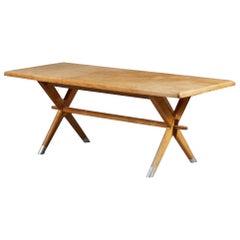 Vintage Italian Massive Oak Table Raised on Cross Legs