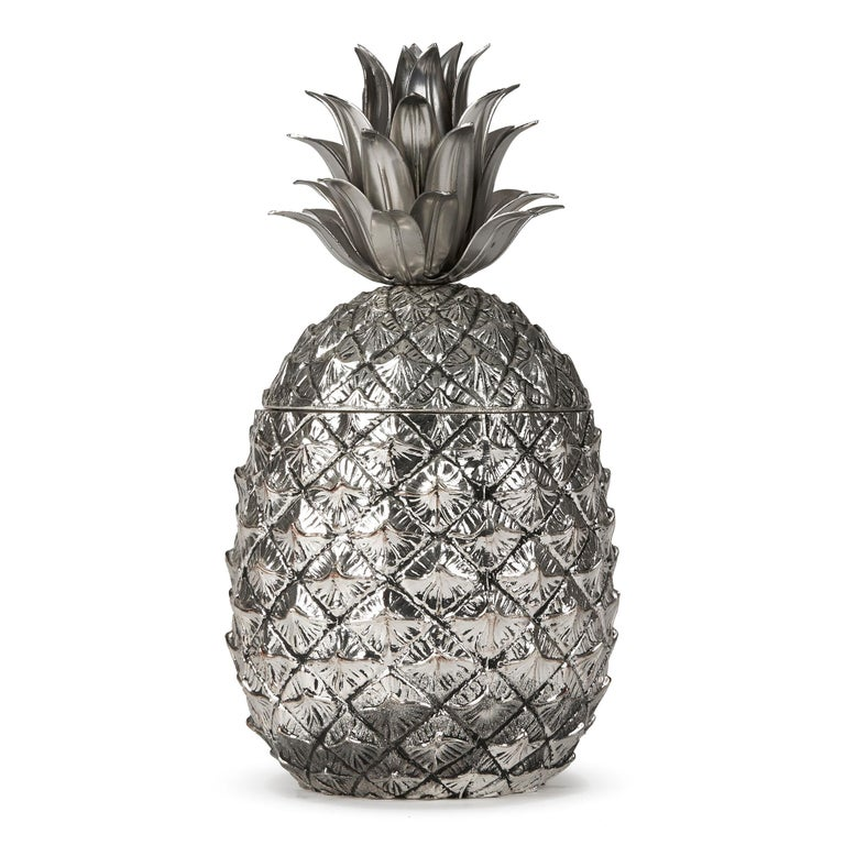 Mid-Century Modern Vintage Italian Mauro Manetti Metal Clad Pineapple Ice Bucket, circa 1960 For Sale