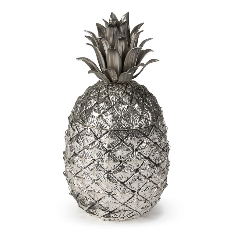 20th Century Vintage Italian Mauro Manetti Metal Clad Pineapple Ice Bucket, circa 1960 For Sale