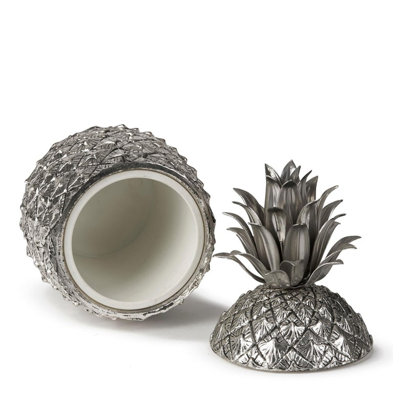 Vintage Italian Mauro Manetti Metal Clad Pineapple Ice Bucket, circa 1960 For Sale 3