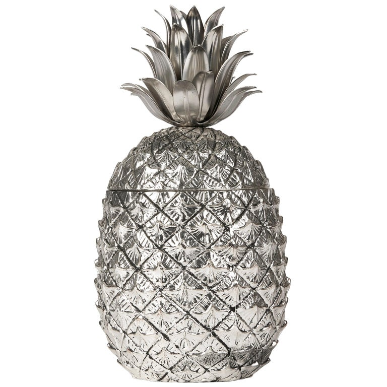 Vintage Italian Mauro Manetti Metal Clad Pineapple Ice Bucket, circa 1960 For Sale