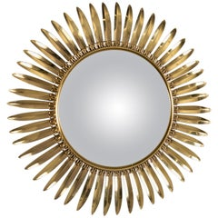 Vintage Italian Metal Starburst with Convex Mirror