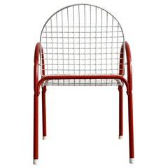 Vintage Italian Metal Wire Mesh Garden Chair, 1980s Pop Art Postmodern
