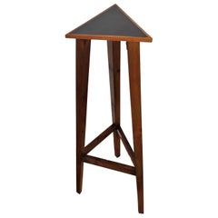 Vintage Italian Mid-Century Art Deco Wooden Triangle Pedestal or Plant Stand