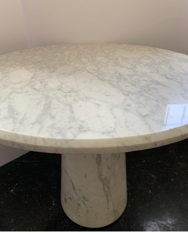 Vintage Italian Midcentury Carrara Marble Table In Good Condition For Sale In Houston, TX