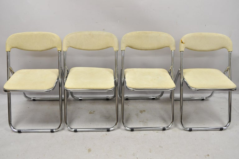 Vintage Italian Midcentury Chrome Upholstered Folding Game Chairs, Set of 4 For Sale 4