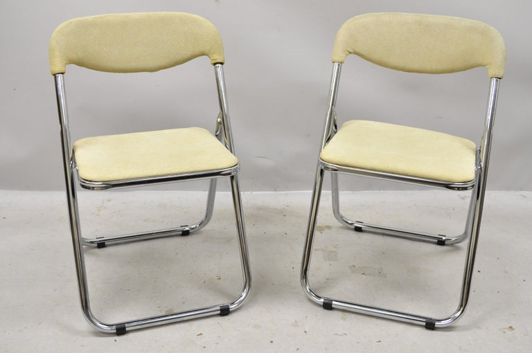 Vintage Italian Midcentury Chrome Upholstered Folding Game Chairs, Set of 4 For Sale 5