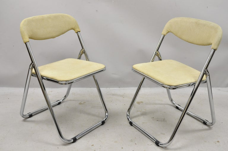 Mid-Century Modern Vintage Italian Midcentury Chrome Upholstered Folding Game Chairs, Set of 4 For Sale