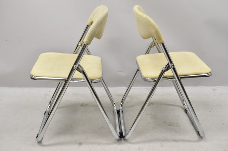 Vintage Italian Midcentury Chrome Upholstered Folding Game Chairs, Set of 4 In Good Condition For Sale In Philadelphia, PA