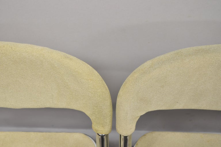 20th Century Vintage Italian Midcentury Chrome Upholstered Folding Game Chairs, Set of 4 For Sale