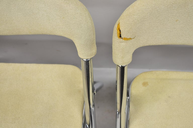 Fabric Vintage Italian Midcentury Chrome Upholstered Folding Game Chairs, Set of 4 For Sale