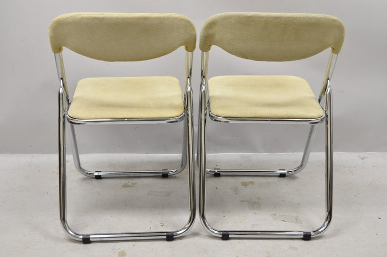Vintage Italian Midcentury Chrome Upholstered Folding Game Chairs, Set of 4 For Sale 3