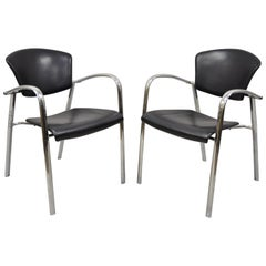 Vintage Italian Mid-Century Modern Chrome Sleek Sculptural Armchairs, a Pair