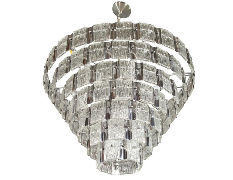 Vintage Italian Mid-Century Modern Murano Glass Chandelier For Sale 5