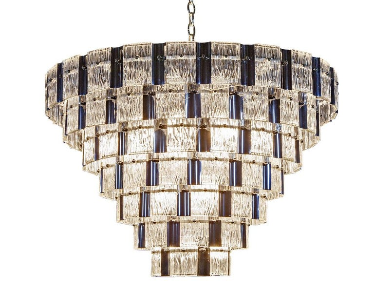Vintage Italian Mid-Century Modern Murano Glass Chandelier For Sale 7