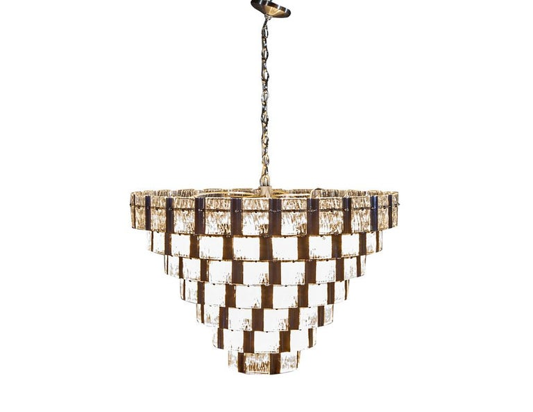 Late 20th Century Vintage Italian Mid-Century Modern Murano Glass Chandelier For Sale