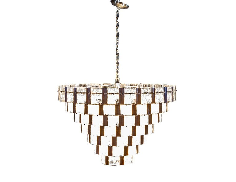 Stainless Steel Vintage Italian Mid-Century Modern Murano Glass Chandelier For Sale