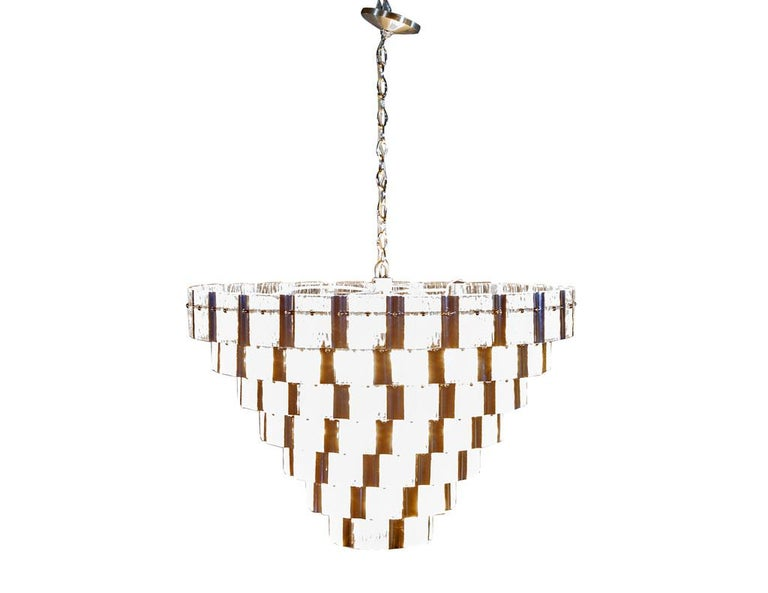 Vintage Italian Mid-Century Modern Murano Glass Chandelier For Sale 1