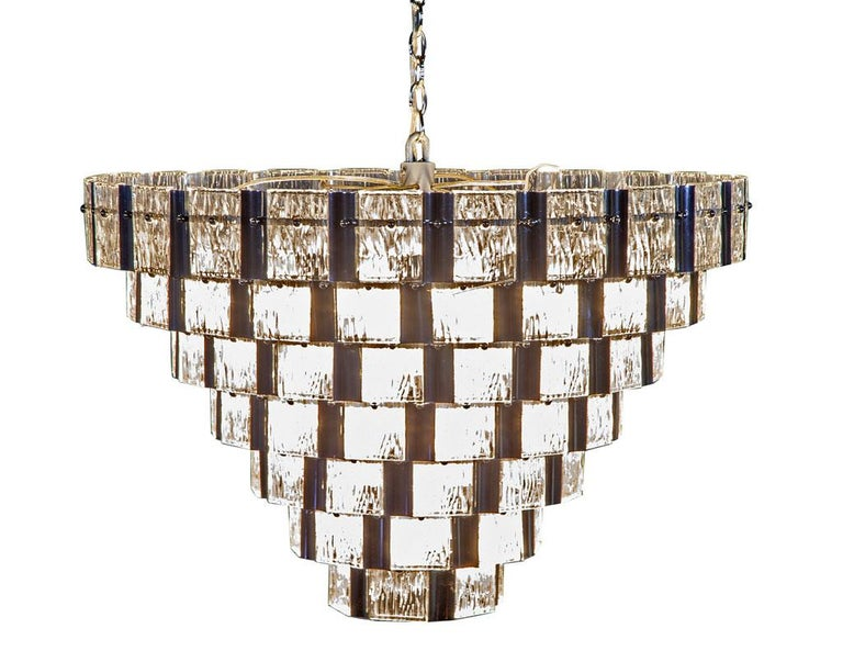Vintage Italian Mid-Century Modern Murano Glass Chandelier For Sale 2