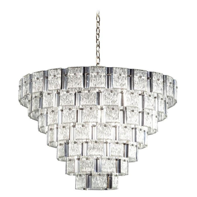 Vintage Italian Mid-Century Modern Murano Glass Chandelier For Sale