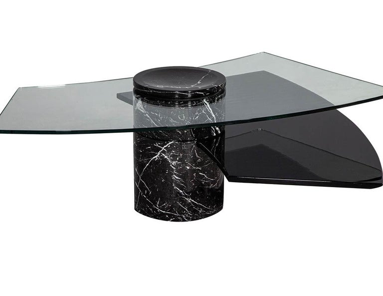 Vintage Italian Mid-Century Modern Stone and Glass Cocktail Coffee Table For Sale 6