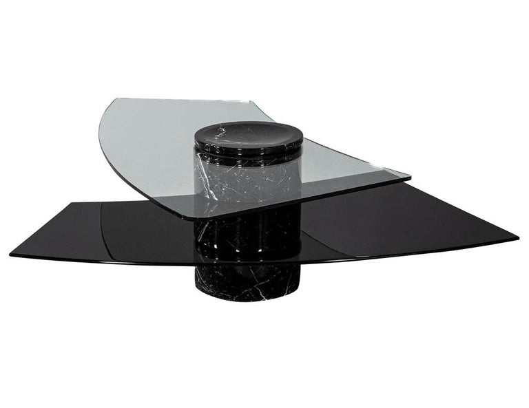 Vintage Italian Mid-Century Modern Stone and Glass Cocktail Coffee Table For Sale 7