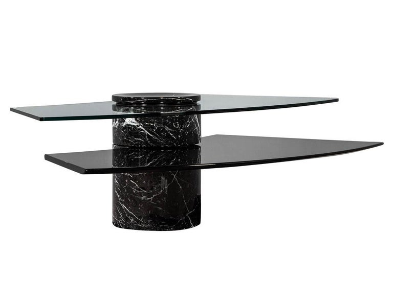 Vintage Italian Mid-Century Modern Stone and Glass Cocktail Coffee Table For Sale 8