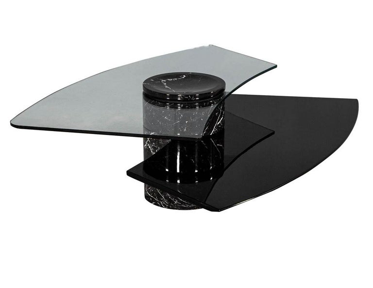 Vintage Italian Mid-Century Modern Stone and Glass Cocktail Coffee Table For Sale 9