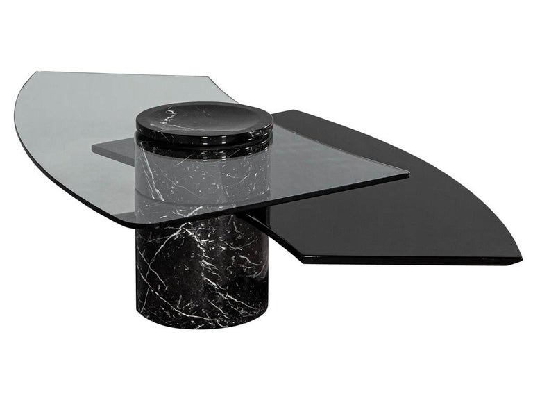 Vintage Italian Mid-Century Modern Stone and Glass Cocktail Coffee Table For Sale 10