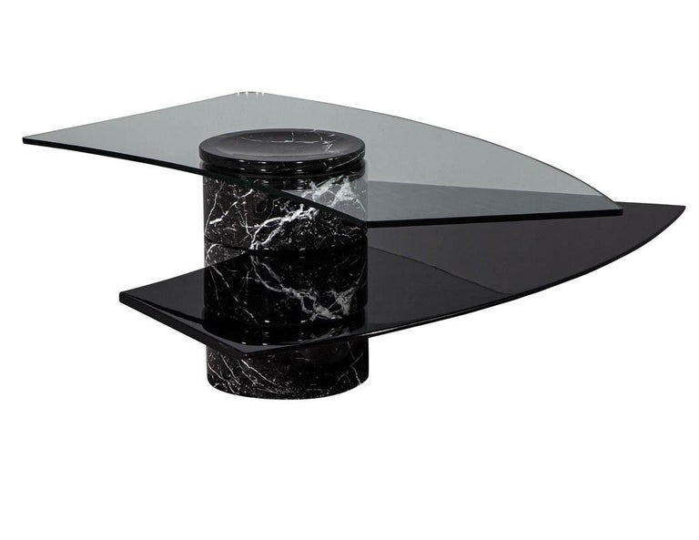Vintage Italian Mid-Century Modern Stone and Glass Cocktail Coffee Table For Sale 1