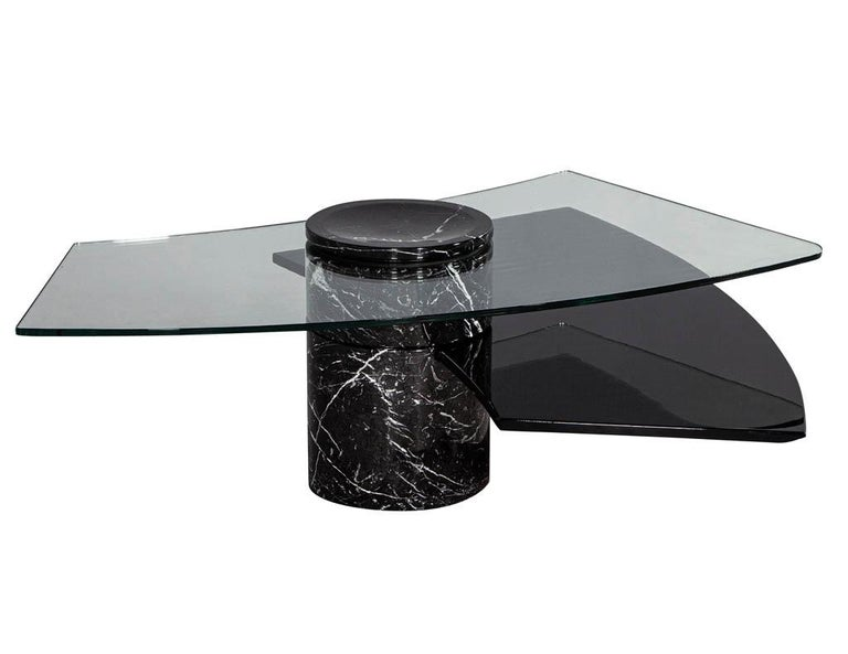 Vintage Italian Mid-Century Modern Stone and Glass Cocktail Coffee Table For Sale 5