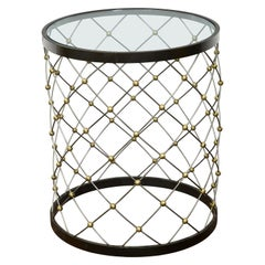 Vintage Italian Midcentury Bronze Drum Side Table with Circular Glass Top