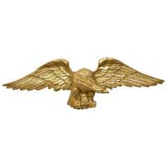 Vintage Italian Midcentury Carved Giltwood Eagle with Extended Wings