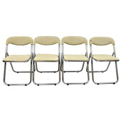 Vintage Italian Midcentury Chrome Upholstered Folding Game Chairs, Set of 4