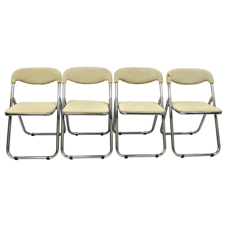Vintage Italian Midcentury Chrome Upholstered Folding Game Chairs, Set of 4 For Sale