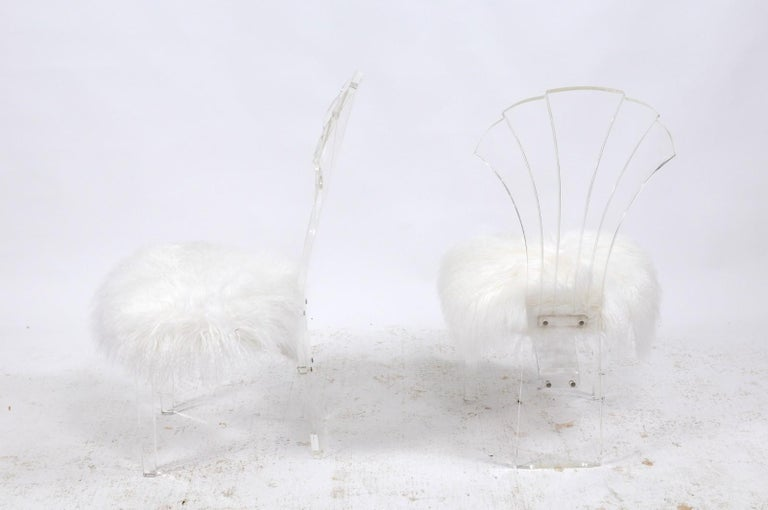 Mid-Century Modern Vintage Italian Midcentury Lucite Chair with Mongolian Fur and Scalloped Back For Sale