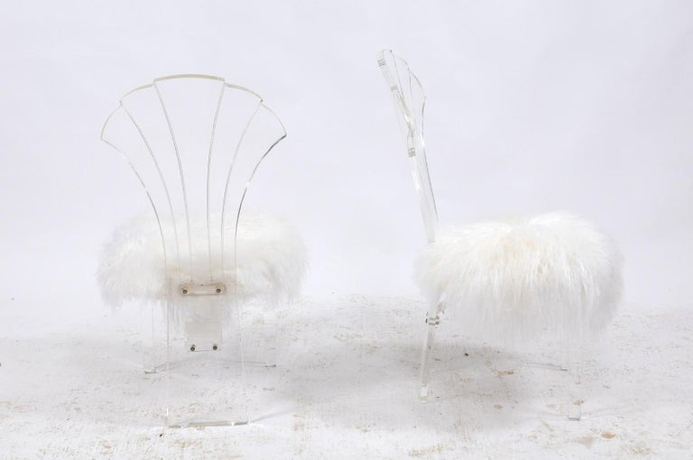 20th Century Vintage Italian Midcentury Lucite Chair with Mongolian Fur and Scalloped Back For Sale