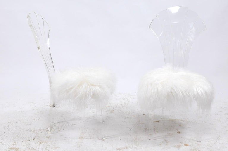 Upholstery Vintage Italian Midcentury Lucite Chair with Mongolian Fur and Scalloped Back For Sale