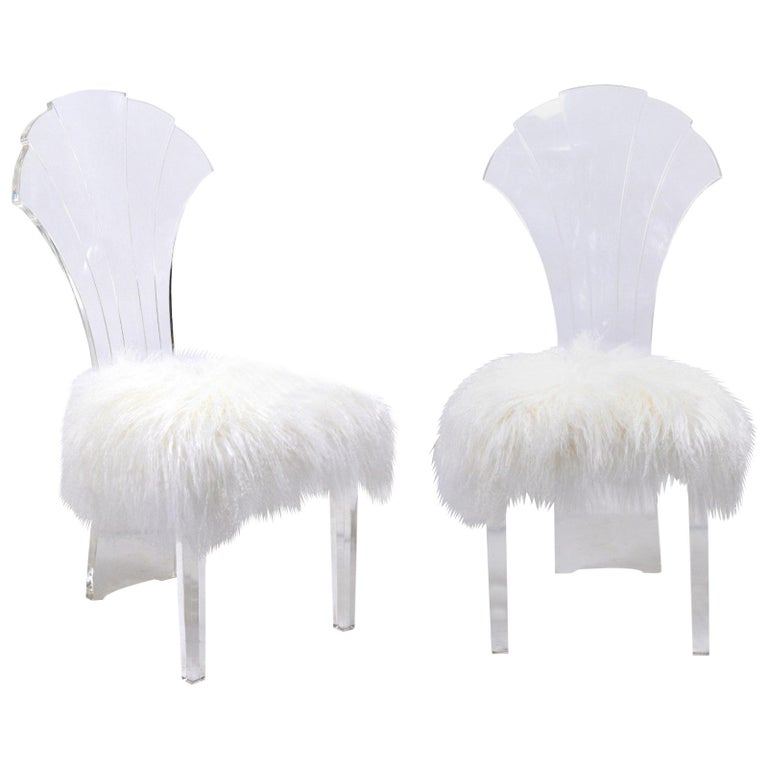 Vintage Italian Midcentury Lucite Chair with Mongolian Fur and Scalloped Back For Sale