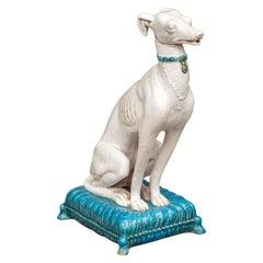 Vintage Italian Midcentury Porcelain Greyhound Dog Sitting on Blue Cushion